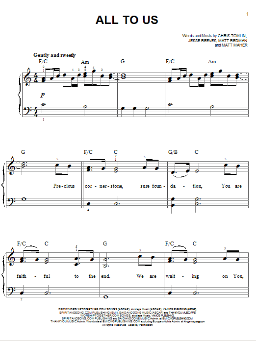 All To Us (Easy Piano)