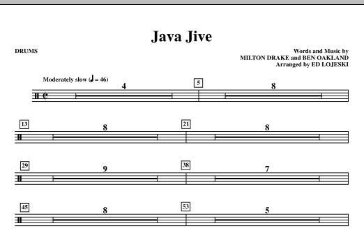 Java Jive (TTBB Octavo Accompaniment Parts) - Drums Sheet Music