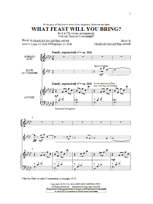 What Feast Will You Bring? Sheet Music