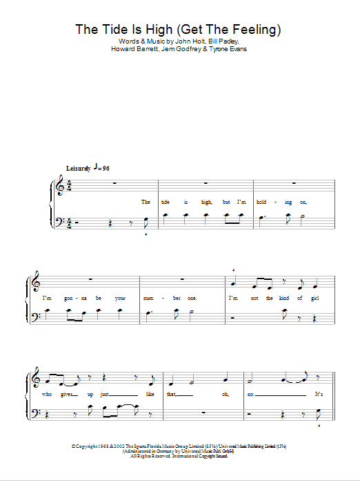 The Tide Is High (Get The Feeling) Sheet Music
