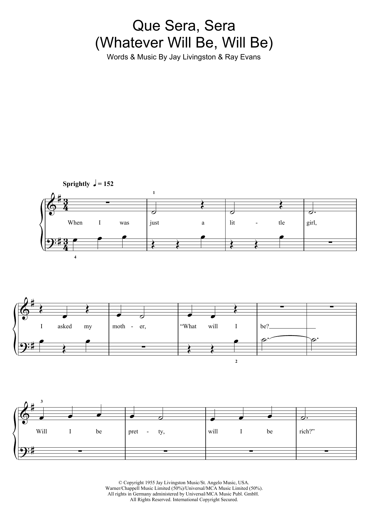 Whatever Will Be, Will Be (Que Sera Sera) | Sheet Music Direct