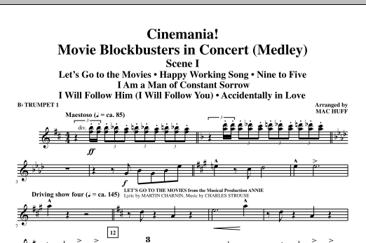 Cinemania! Movie Blockbusters In Concert (Medley) - Bb Trumpet 1 (Choir Instrumental Pak)
