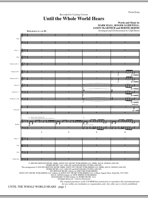 Until The Whole World Hears (complete set of parts) sheet music for orchestra/band (Orchestra) by Cliff Duren, Bernie Herms, Casting Crowns, Mark Hall and Roger Glidewell. Score Image Preview.