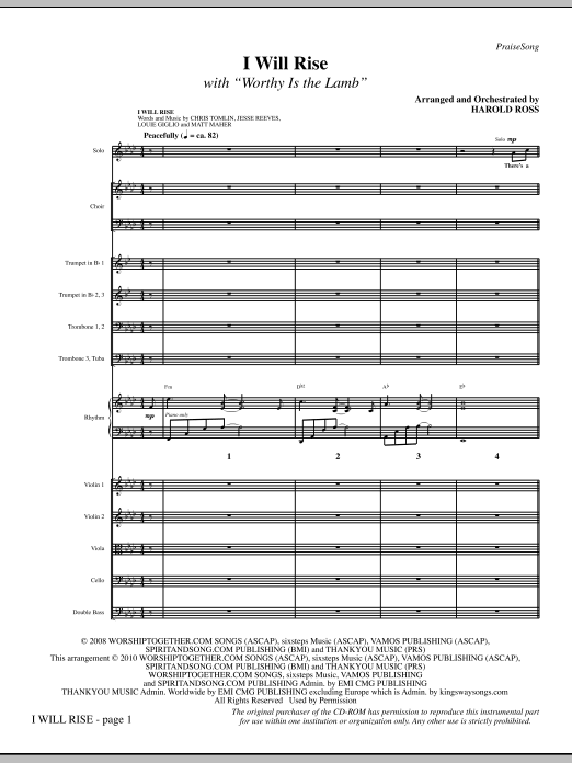 I Will Rise (with Worthy Is The Lamb) - Full Score Sheet Music