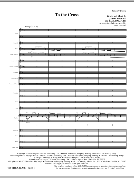 To The Cross (complete set of parts) sheet music for orchestra/band (Orchestra) by Jason Ingram, Camp Kirkland and Paul Baloche. Score Image Preview.