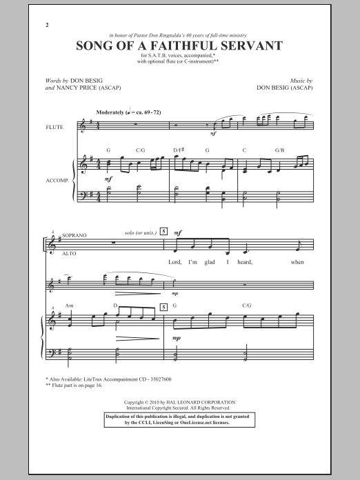 Song Of A Faithful Servant (SATB Choir)