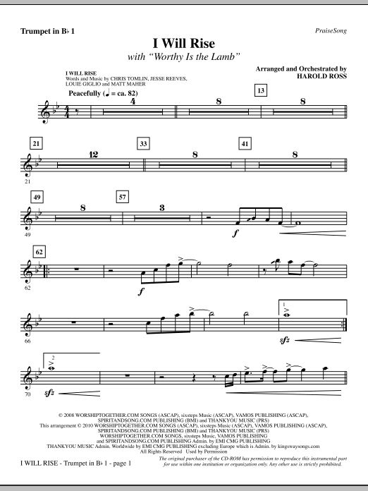 I Will Rise (with Worthy Is The Lamb) - Trumpet 1 Sheet Music