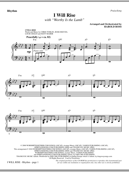 I Will Rise (with Worthy Is The Lamb) - Rhythm Sheet Music