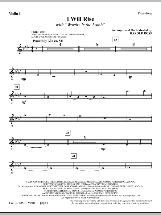 I Will Rise (with Worthy Is The Lamb) - Violin 1 Sheet Music