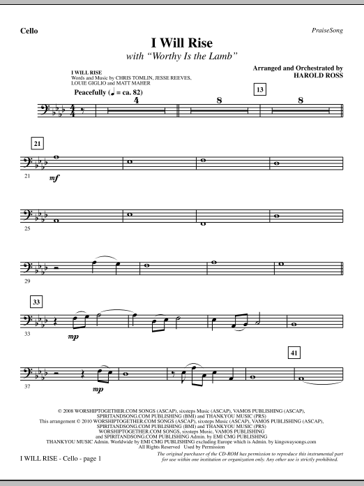 I Will Rise (with Worthy Is The Lamb) - Cello (Choir Instrumental Pak)