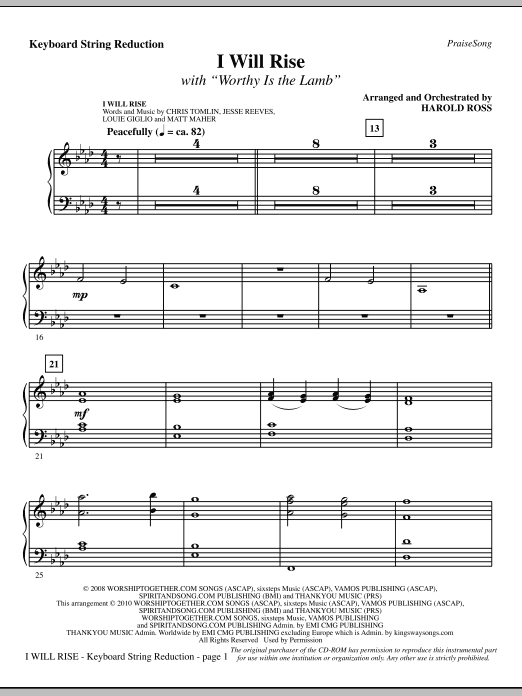 I Will Rise (with Worthy Is The Lamb) - Keyboard String Reduction Sheet Music