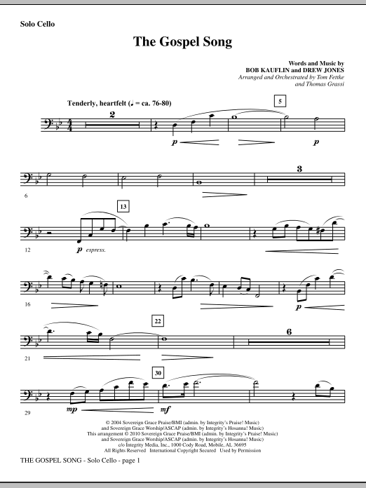 The Gospel Song - Solo Cello Sheet Music