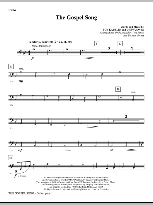 The Gospel Song - Cello Sheet Music