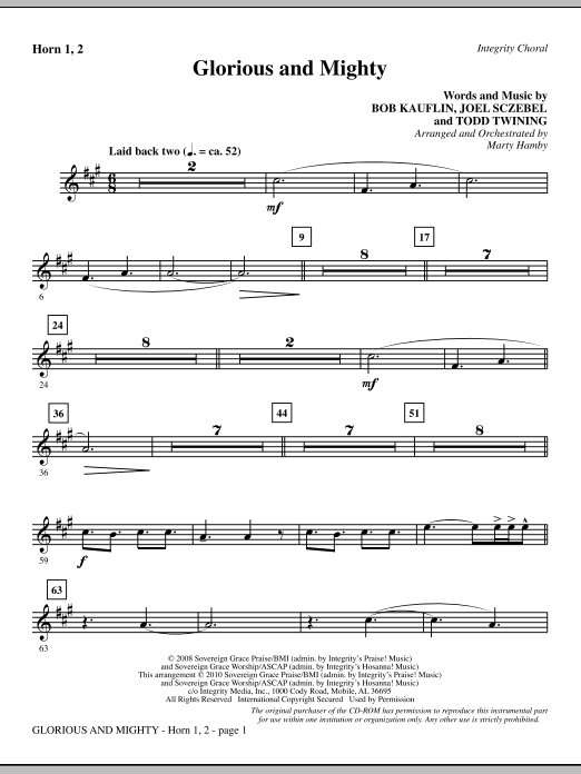 Glorious And Mighty - F Horn 1 & 2 Sheet Music