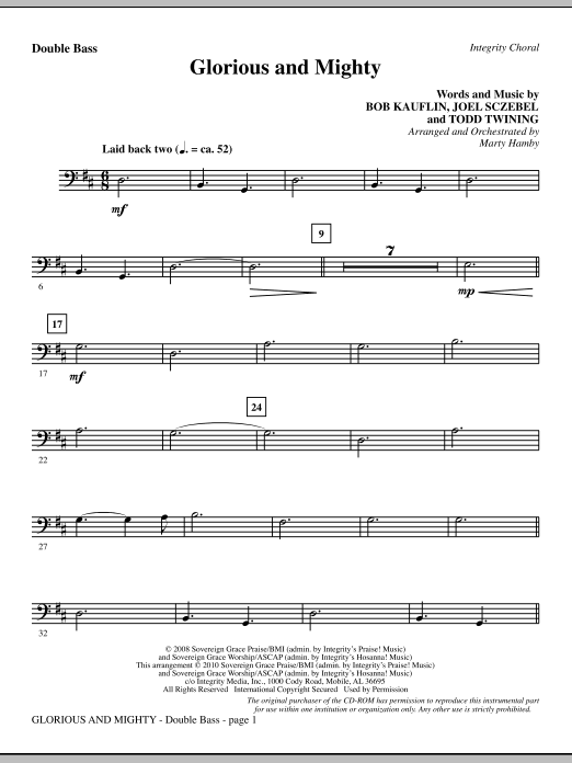 Glorious And Mighty - Double Bass Sheet Music
