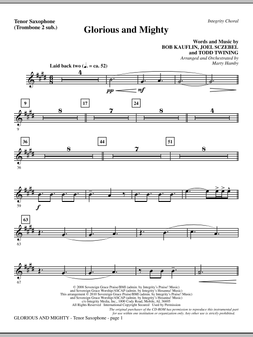 Glorious And Mighty - Tenor Sax (sub. Tbn 2) Sheet Music