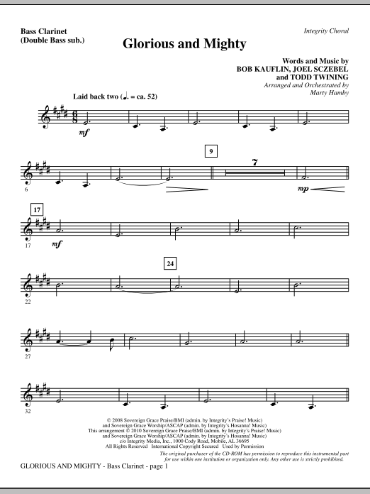 Glorious And Mighty - Bass Clarinet (sub. dbl bass) (Choir Instrumental Pak)