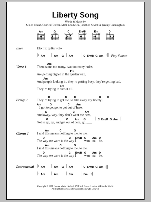 Liberty Song by The Levellers - Guitar Chords/Lyrics