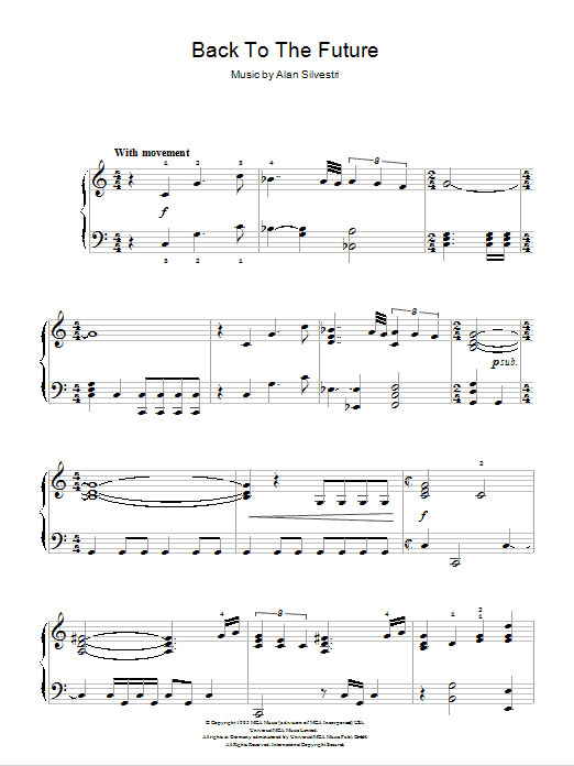 Back to the future theme sheet music direct