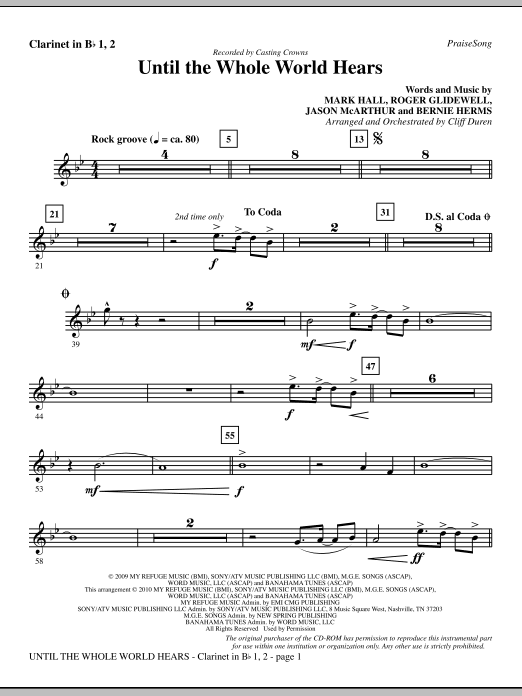 Until The Whole World Hears - Clarinet 1 & 2 Sheet Music