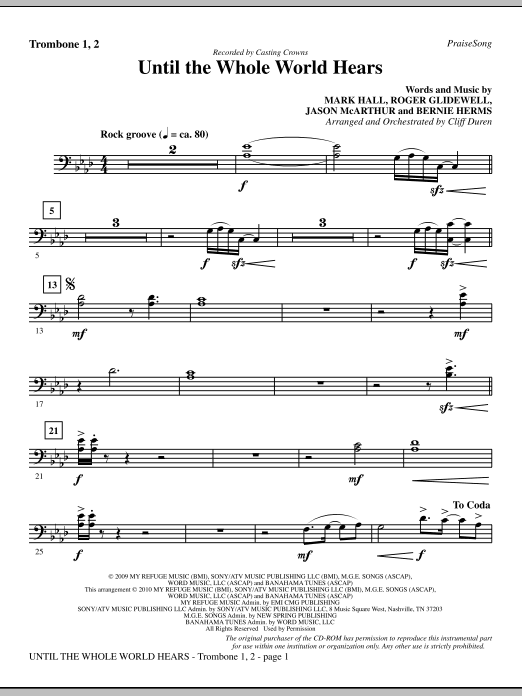 Until The Whole World Hears - Trombone 1 & 2 Sheet Music