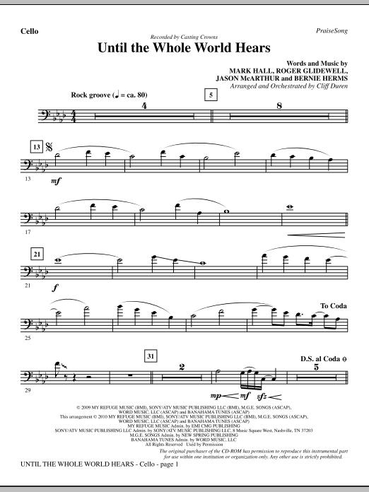 Until The Whole World Hears - Cello (Choir Instrumental Pak)