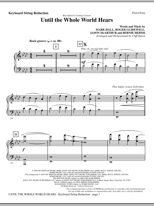 Until The Whole World Hears - Keyboard String Reduction Sheet Music