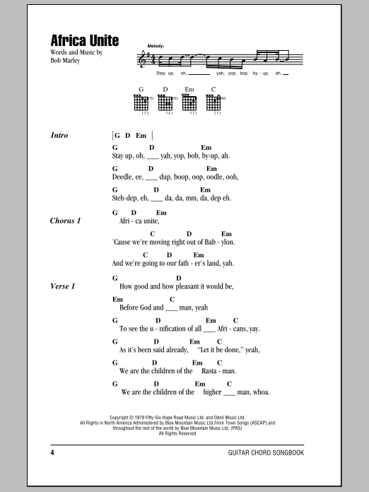 Africa Unite Sheet Music Direct