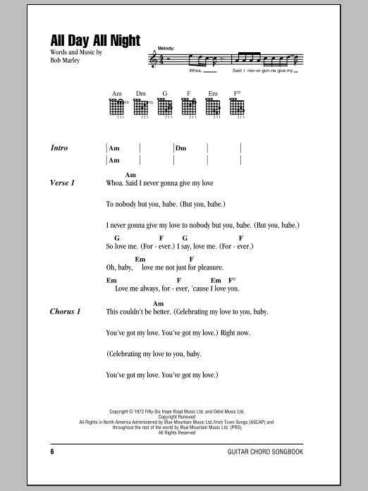 All Day All Night Sheet Music