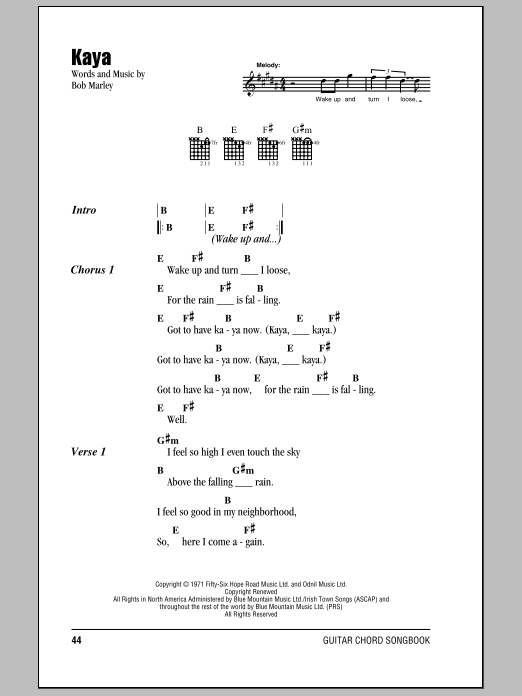 Kaya | Sheet Music Direct