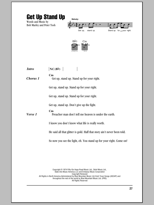 Get Up Stand Up Sheet Music Direct