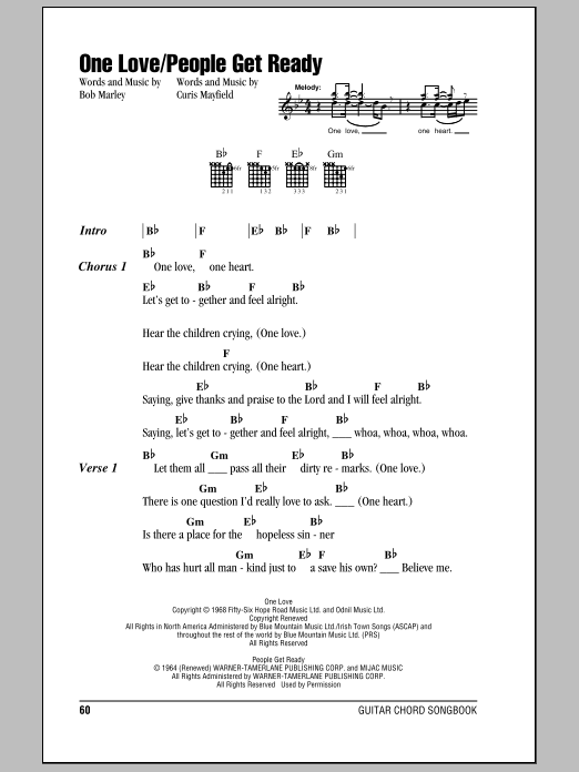 One Love Sheet Music | Bob Marley | Lyrics & Chords