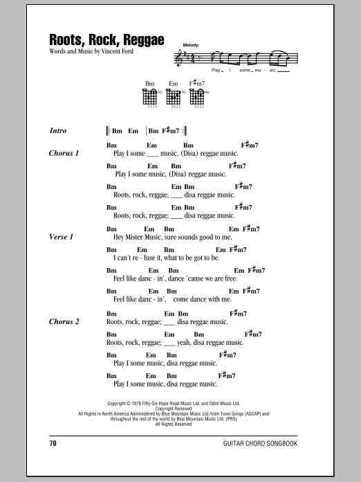 Roots, Rock, Reggae Sheet Music