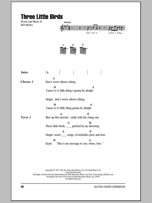 Three Little Birds Sheet Music Direct