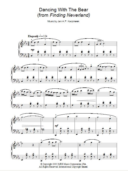 Dancing With The Bear (from Finding Neverland) Sheet Music