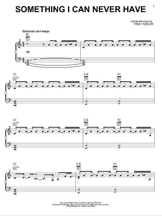 Something I Can Never Have (Piano, Vocal & Guitar (Right-Hand Melody))