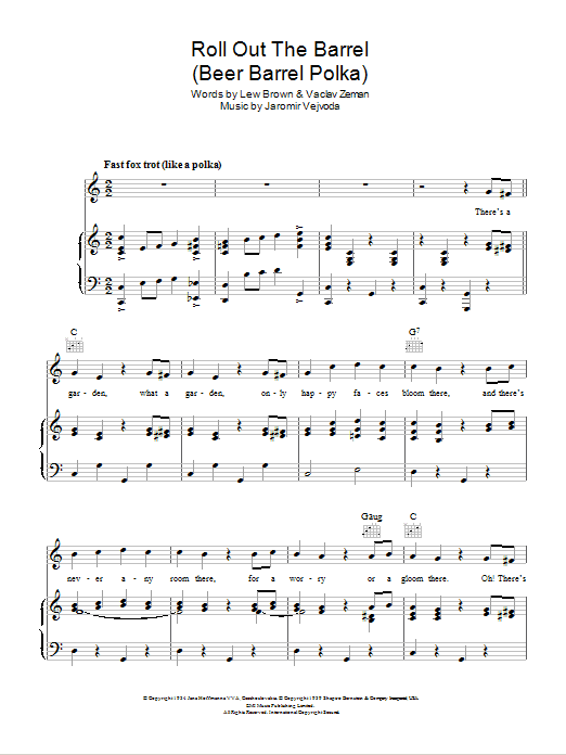 Beer Barrel Polka (Roll Out The Barrel) Sheet Music