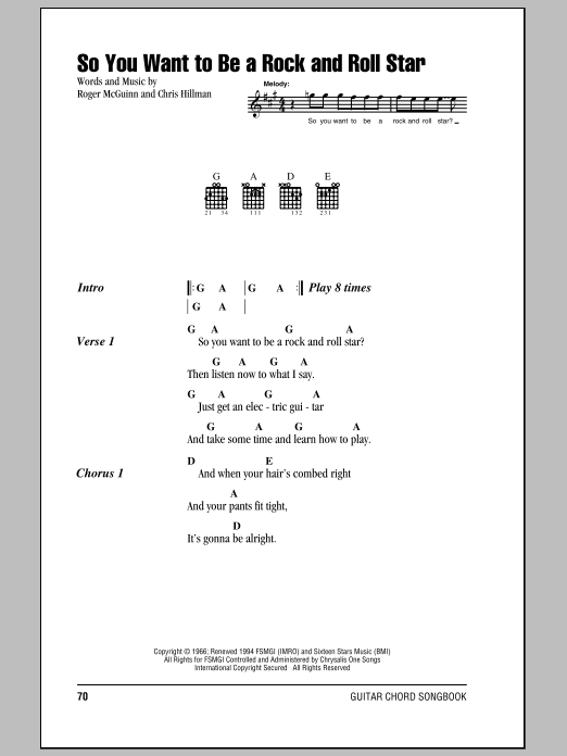 Sheet Music Digital Files To Print Licensed The Byrds Digital Sheet Music