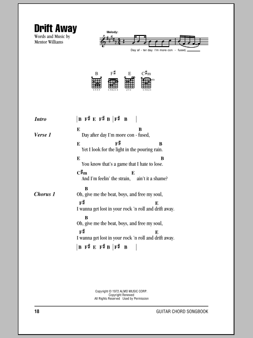 Drift Away Sheet Music