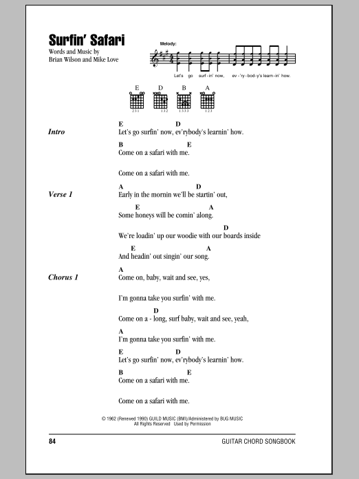 Surfin' Safari (Guitar Chords/Lyrics)