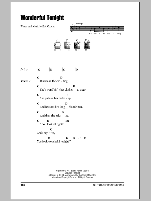 Wonderful Tonight by Eric Clapton - Guitar Chords/Lyrics - Guitar ...