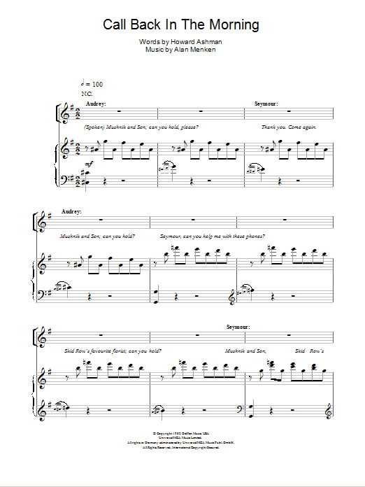 Call Back In The Morning (from Little Shop Of Horrors) Sheet Music