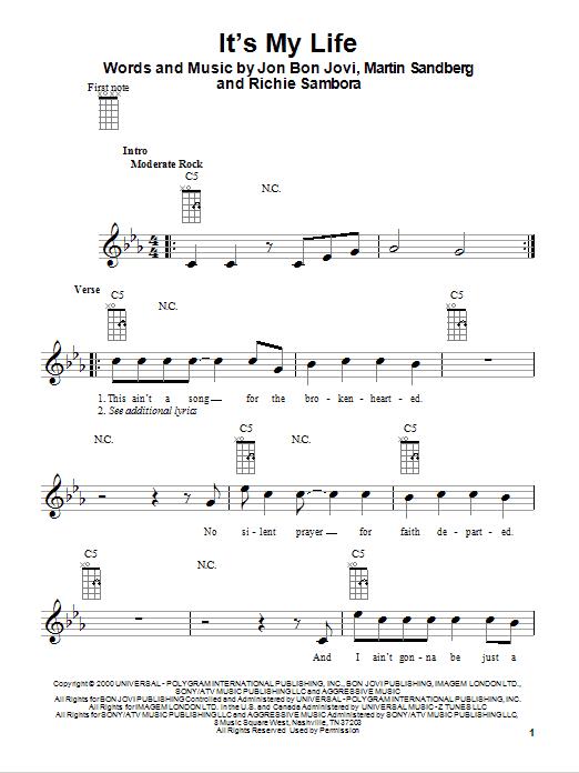 Tablature guitare It's My Life de Bon Jovi - Ukulele