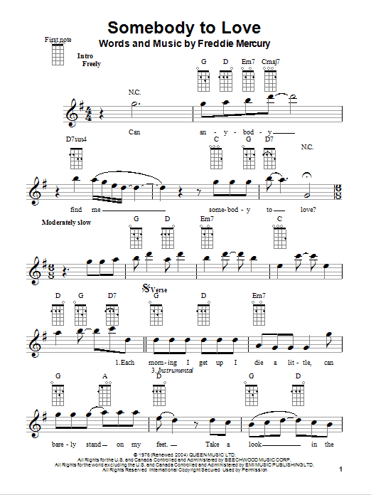 Somebody To Love (Ukulele) - Print Sheet Music Now