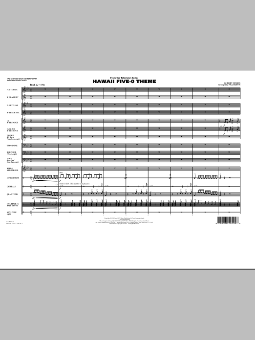 Hawaii Five-O Theme (COMPLETE) sheet music for marching band by Paul Murtha. Score Image Preview.