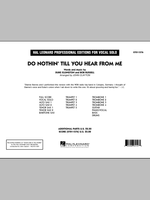 Do Nothin' Till You Hear From Me (COMPLETE) sheet music for jazz band by John Clayton, Bob Russell and Duke Ellington. Score Image Preview.