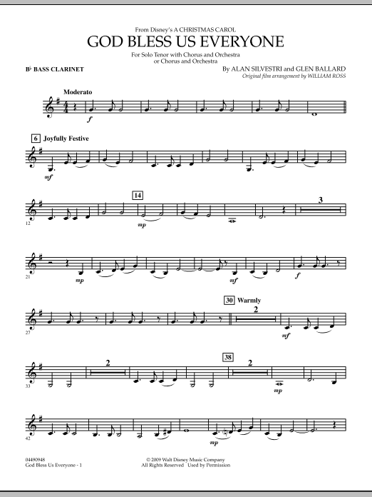 God Bless Us Everyone - Bb Bass Clarinet (Full Orchestra)