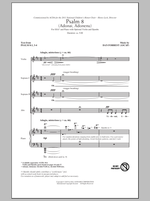 Psalm 8 (Adonai, Adonenu) Sheet Music