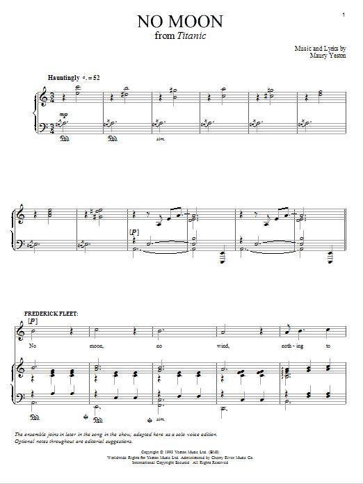 Partition piano No Moon de Maury Yeston - Piano Voix Guitare (Mélodie Main Droite)