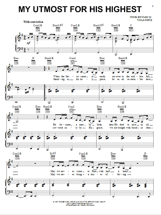 My Utmost For His Highest (Piano, Vocal & Guitar (Right-Hand Melody))